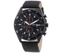 Herren-Armbanduhr XL Chronograph Quarz Leder 3762-04
