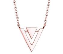 Damen Schmuck Halskette Kette mit Anhänger Dreieck Triangle Geo Minimal Trend Blogger Silber 925 Rosé Vergoldet Länge 45 cm