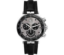 Newport Yacht Club herren Quarz-Uhr mit Braun Zifferblatt Chronograph-Anzeige und schwarz Lederband 36655/AN33