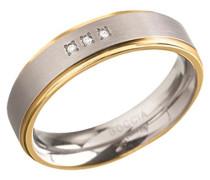 Unisex-Ring Titan teilvergoldet Diamant (0.015 ct) transparent Brillantschliff