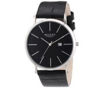 Regent Herren-Armbanduhr XL Analog Quarz Leder 11110646