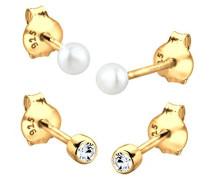 Damen-Ohrstecker 925 Sterling Silber gold mit Swarovski Kristallen im Brillantschliff & Süßwasserzuchtperle Weiß - 0310522414