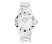 Unisex-Armbanduhr Medium Size Analog Silikon weiß SO-2291-PQ