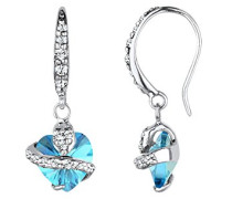Damen-Ohrhänger Herz 925 Sterling Silber Swarovski Kristallen Herzschliff - 0303541113