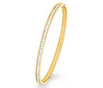 Damen Armreif aus Edelstahl IP Gold veredelt mit Swarovski Kristallen, Ø 6,2 cm Breite ca. 4 mm