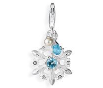 Damen-Charm Maxicharm Schneeflocke 925 Silber Topas blau Brillantschliff Perle Weiß - LD SW 33- 1
