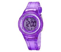 Damen-Armbanduhr Digital mit Lila Zifferblatt Digital Display und lila Kunststoff Gurt k5688/3