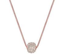 Damen Schmuck Halskette Kette mit Anhänger Basic Klassisch Glamourös Funkelnd Silber 925 Rosé Vergoldet Swarovski Kristalle Braun Länge 45 cm