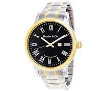 Quartz Armbanduhr von  für Männer mit Original Schweizer Uhrwerk mit Schwarzem Zifferblatt Analoger Anzeige und Multicolour Armband aus Edelstahl Datumsanzeige BSSM212