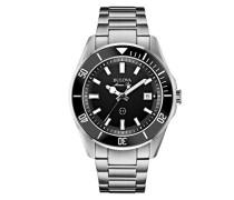 Marine Star 98B203 - Herren Designer-Armbanduhr - Armband aus Edelstahl - wasserdicht - schwarzes Zifferblatt