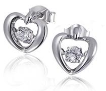 Damen-Ohrstecker 925 Sterlingsilber MovingStar Herzen mit 2 weißen Zirkonia Herz-Ohrringe