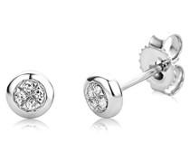 Damen-Ohrstecker 9 Karat (375) Weißgold Diamant weiß