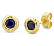 Miore Damen-Ohrstecker 375 Gelbgold Saphir blau Rundschliff