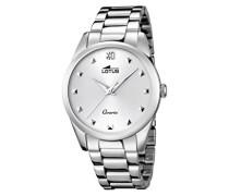 Lotus Damen Quarzuhr mit weißem Zifferblatt Analog-Anzeige und Silber Edelstahl Armband 18142/1