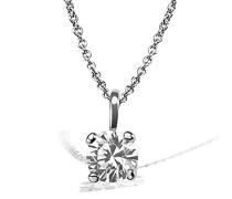 Damen-Kette mit Anhänger Solitär Jana Solitär Halskette Jana 0.15 ct. 585 Weißgold Diamant (0.15 ct) weiß BrillantschliffKettenanhänger Schmuck Diamantkette