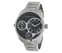 Herren World Timer Kingsize Collection Automatik Armbanduhr mit multifunktionalem Zifferblatt - Analoge Anzeige - Armband und Gehäuse aus Edelstahl Größe XL - OZG1077