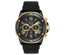 Marine Star 98B278 - Herren Designer-Armbanduhr - Chronograph mit Gummiarmband - wasserdicht - Schwarz/Goldfarben