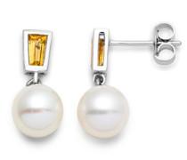 Damen-Ohrhänger 9 Karat (375) weißgold Citrin und weiße Süßwasser-Zuchtperlen