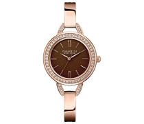 Caravelle New York Damen-Armbanduhr ROSE and BROWN Analog Quarz Edelstahl beschichtet 44L134