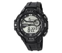 Herren Digitale Armbanduhr mit LCD Dial Digital Display und schwarz Kunststoff Gurt k5695/1