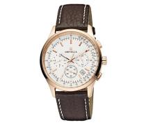Herren-Armbanduhr 24h Dual Time Quarz Leder