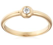 18 Karat (750) Gelbgold 52 (16.6) Damenring, mit  1 (0,06 cts) Diamant M0615YM