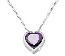 Damen Halskette 925 Sterling Silber Amethyst Zirkonia Herz Anhänger 45cm Kette