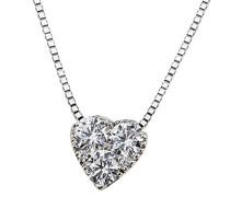 Damen-Kette mit Anhänger 585 Weißgold Diamant (0.28 ct) weiß Brillantschliff 45 cm-He C7382WG