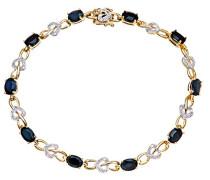 Damen-Armband 375 Gelbgold Saphir schwarz Ovalschliff Diamant 1,85 cm PBC02713Y SA