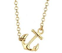Damen Schmuck Halskette Kette mit Anhänger Anker Maritim Hanseatisch Silber 925 Vergoldet Länge 45 cm