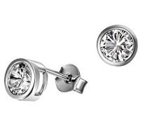 Damen-Ohrstecker Zargenfassung 925 Sterlingsilber 2 weiße Zirkonia Ohrringe Schmuck