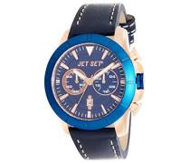 Jet Set-j6339r-333-Vienna-Armbanduhr-Quarz Chronograph-Zifferblatt Blau Armband Leder braun
