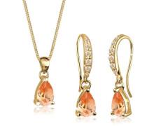 Damen-Schmuckset 925 Sterling Silber mit Kristallen von Swarovski vergoldet Länge 45cm 0906571212_45