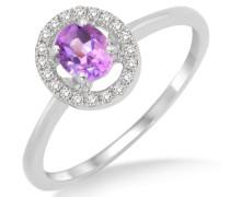Damen-Ring  375 Weißgold mit Amethyst 0,31ct umrahmt von  Brillanten 0,10ct MP9007RP