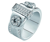 Guess Damen-Ring Messing Glas weiß Gr. 56 (17.8) - UBR28514-56