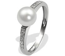 Damen-Ring 9 Karat 375 Weißgold 1 Süsswasserperle 10 Diamanten 0,09 ct.