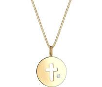 Damen Halskette Kreuz Münze 925 Sterling Silber Swarovski Kristalle 0101920317