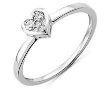 Damen-Ring 750 Weißgold Herz mit Brillanten