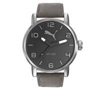 Herren-Armbanduhr 10414 - LEATHER GREY Analog Quarz Leder PU104141005