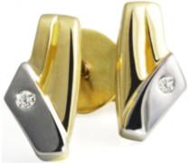 Goldmaid-Ohrstecker 585 Bicolor 2 Brillanten 0,01ct So O3242BI