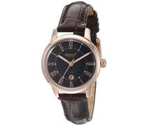 Quarz Frauen Quarz-Uhr mit schwarzem Zifferblatt Analog-Anzeige und braunem Lederband inq044bkrs