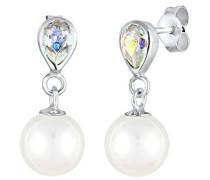 Damen Ohrhänger Tropfen 925 Sterling Silber Kristall weiß Synthetische Perle 0309830916