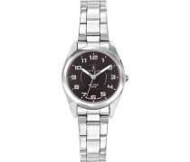 –641389Damen-Armbanduhr–Quarz Analog–Zifferblatt schwarz Armband Stahl Silber