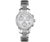 Accu Swiss Masella Damen Quarzuhr mit Mutter von Pearl Zifferblatt Chronograph-Anzeige und Silber Edelstahl Armband 63r141