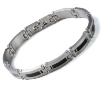Herren-Armband Edelstahl Edelharzeinlagen schwarz 18 cm 41511