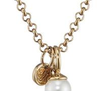 Dyrberg/Kern Damen-Kette mit Anhänger Icons Carla Sg White Messing teilvergoldet Perle weiß Prinzess 52.5 cm - 338056