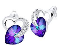 Damen Ohrstecker Herz 925 Sterling Silber Swarovski Kristalle