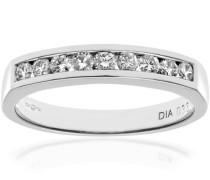 Platin-Allianzring, zur Hälfte mit IJ/I-zertifizierten Diamanten versehen, rund, Brillantschliff