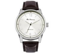 Ben Sherman Herren Armbanduhr mit silber Zifferblatt Analog-Anzeige und braunem Lederband BS116