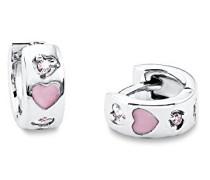 Kinder-Creolen Mädchen 12mm Herz 925 Silber rhodiniert Emaille Zirkonia rosa